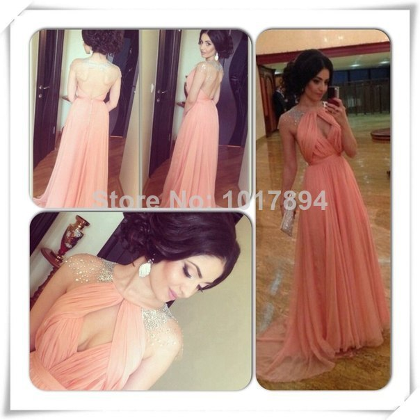 2014 Embroidery Elegant Chiffon  Floor length Cap Sleeve Prom/Evening Dress-in Bridesmaid Dresses from Apparel & Accessories on Aliexpress.com