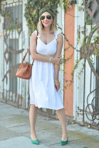 cupcakes and cashmere blogger jewels dress shoes bag make-up white dress bucket bag spring outfits