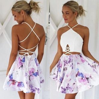 dress purple dress floral spring dress