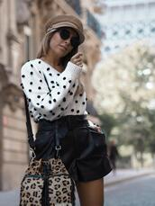 mesvoyagesàparis,blogger,sweater,shorts,bag,shoes,jewels,sunglasses,white sweater,leather shorts,bucket bag
