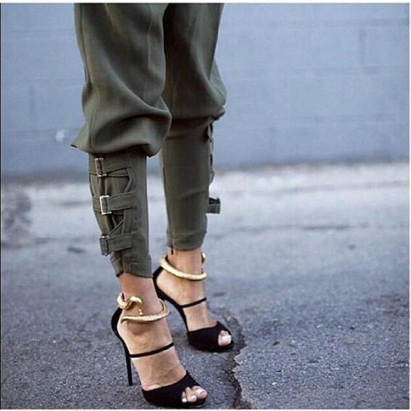 navy khaki pants army pants army green jacket buckles belt cropped snake