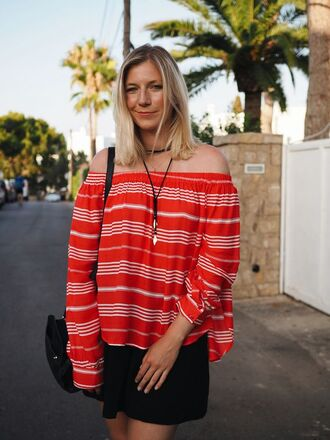 top red off shoulder top red top striped off shoulder top striped top stripes long sleeves off the shoulder off the shoulder top choker necklace black choker necklace accessories skirt mini skirt black skirt bag black bag shoulder bag summer outfits