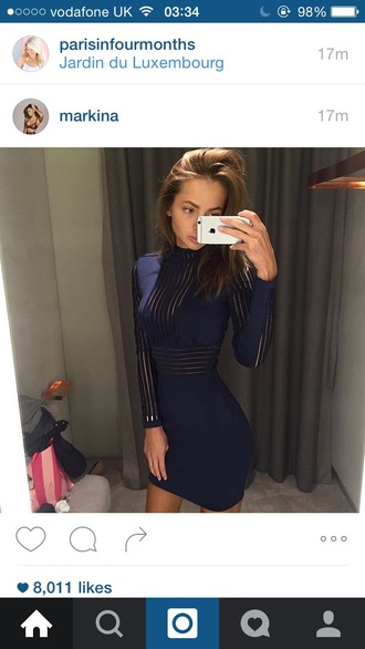 dress navy stripes transparent sexy mini bodycon fit slim turtleneck high neck winter outfits fall outfits