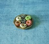 home accessory,miniature donut,sweet deco,mini donut,donut,clay food,donut clay,polymer clay,ceramic plate,mini plate,dollhouse,miniature,kawaii,doll food,dessert,fake donut
