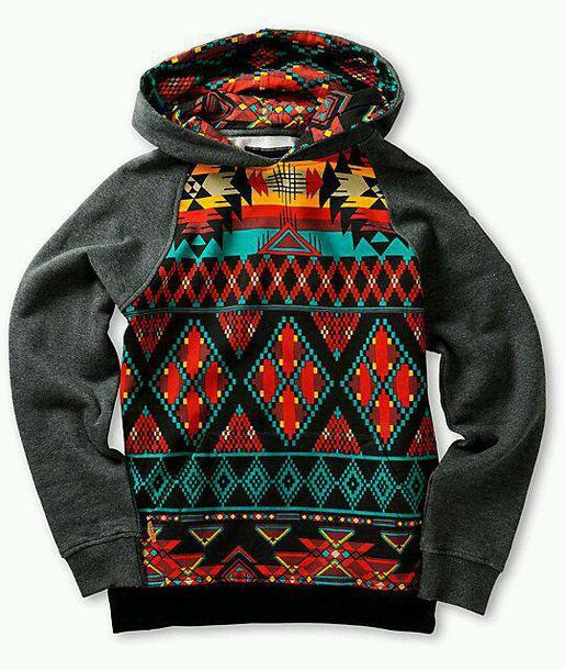 Jacket Sweater Pattern Aztec Colorful Hoodie Winter