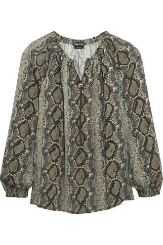 blouse snake print silk snake print top