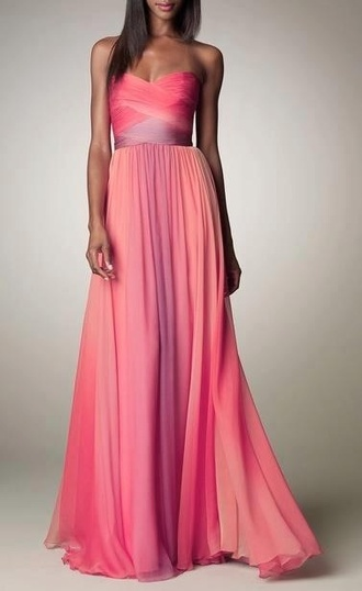dress maxi dress pink purple fabric wrap front prom dress ombre chiffon prom drees