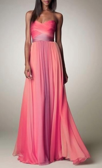 wrap front dress maxi dress pink purple fabric prom dress ombre chiffon prom drees