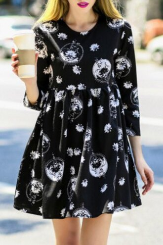 dress fashion black and white long sleeves sweet jewel neck 3/4 sleeve printed loose-fitting women's dress fall outfits streetwear trendy rosegal-jan