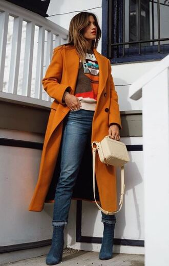 coat jeans winter outfits blogger rocky barnes purse boots sweater