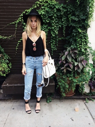 blouse black top black black shoes black hat hat tank top black tank top shirt white bag white bag purse