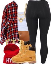 blouse,timblerlands,beanie,leggings,gold chain,plaid shirt,bag,shirt,jacket,jewels,hat,flannel,flannel shirt,white top,necklace,timberland boots,clothes