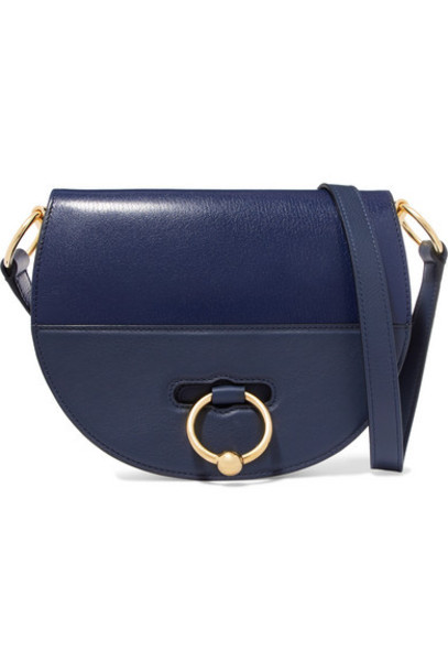 JW Anderson - Latch Smooth And Textured-leather Shoulder Bag - Navy