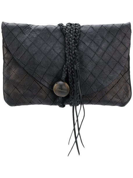 Caravana women bag clutch leather black