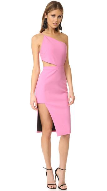 Michelle Mason Asymmetrical Bandeau Dress - Bubble Gum