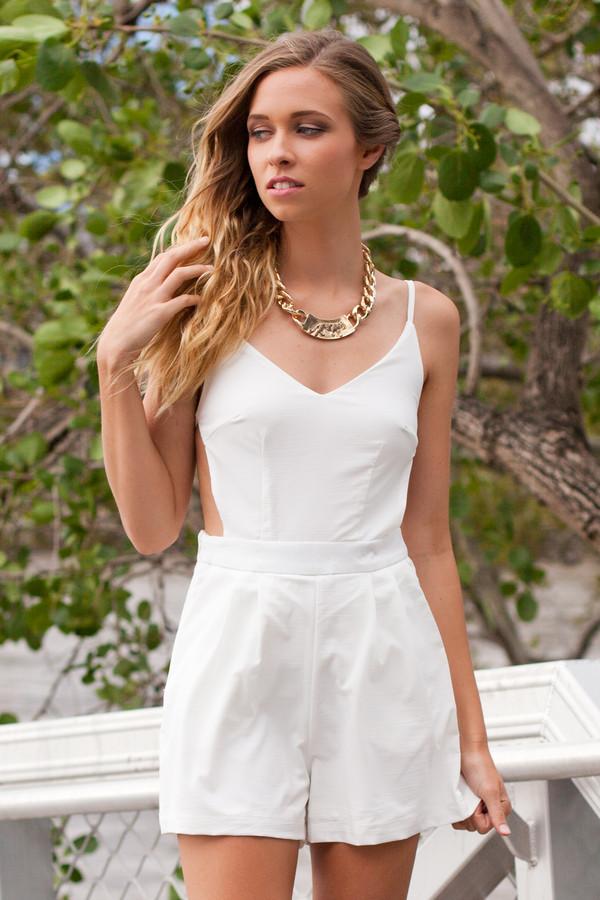 dress romper romper backless white cute pretty