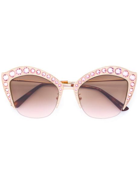 Gucci Eyewear - Cat-eye sunglasses - women - Acetate/Swarovski Crystal/metal/gossypium herbaceum (cotton) - 53, Grey, Acetate/Swarovski Crystal/metal/gossypium herbaceum (cotton) in metallic