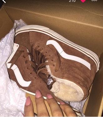 shoes tan furry vans