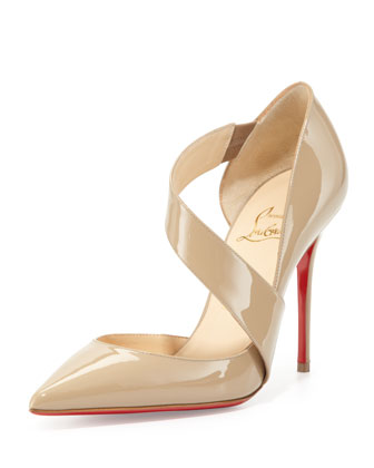 Christian Louboutin Ograde Cross-Strap Red-Sole Pump, Beige - Neiman Marcus