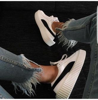 shoes blanc creepers platform shoes black and white puma x rihanna