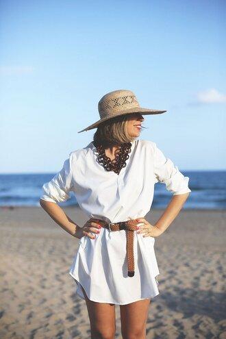 dress hat tumblr shirt dress white dress mini dress belt sun hat