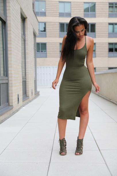 e089fa04bf9c dress outfit made green khaki dress summer cute sexy street ribbed slit  side split