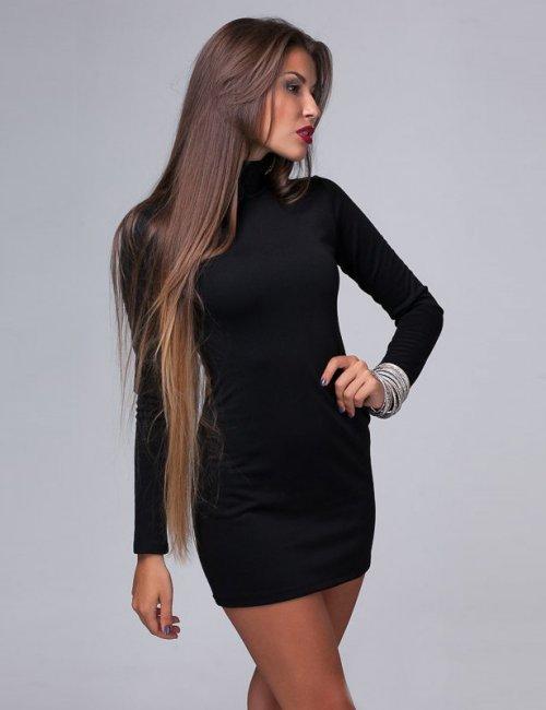 Classic Black Tricot Slinky Turtleneck Mini Dress