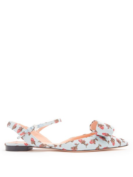 Rochas flats floral blue shoes