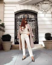 pants,white pants,mules,balenciaga,sweater,coat,wool coat,sunglasses