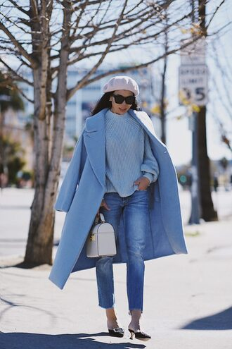 hallie daily blogger coat jeans bag sweater jewels beret winter outfits blue sweater blue coat