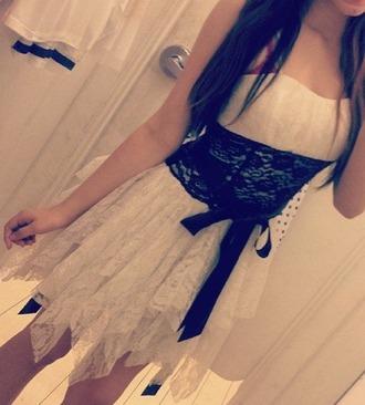 dress clothes white dress black and white dress lace black lace black belt black bow strapless strapless dress short dress white dress with black bow