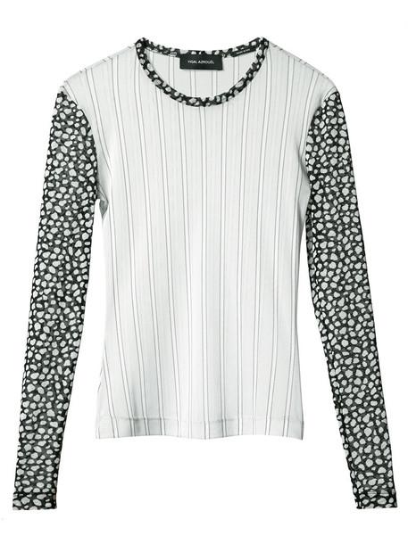 Yigal Azrouel blouse mesh women grey top