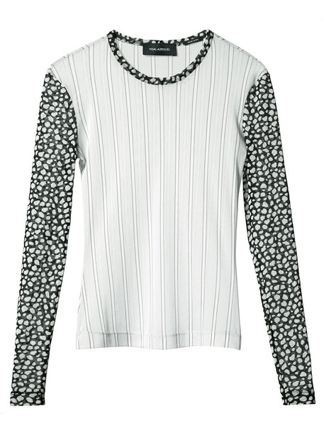 blouse mesh women grey top