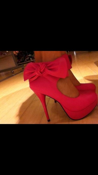 red shoes shoes high heels bow gorgeous shoes