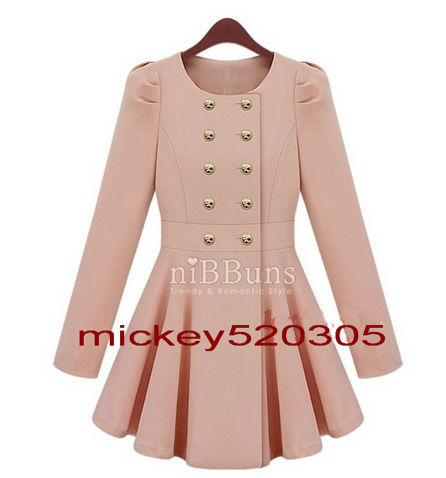 Women new slim puff sleeve skirt trenchcoat double breasted jacket pink blue