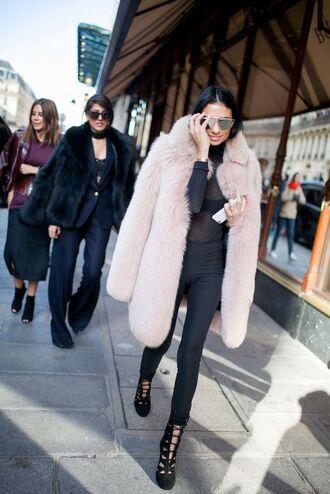 breakfastwithaudrey blogger top sunglasses jacket see through top black top fur coat black pants high heels boots
