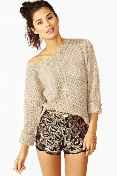 shorts jewels pattern aztec sweater black tan necklace beige fall outfits