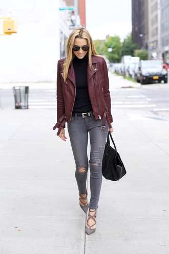 mind body swag blogger ripped jeans grey jeans leather jacket burgundy