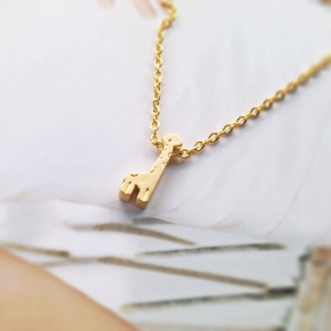 Giraffe necklace , simple necklace , gold giraffe