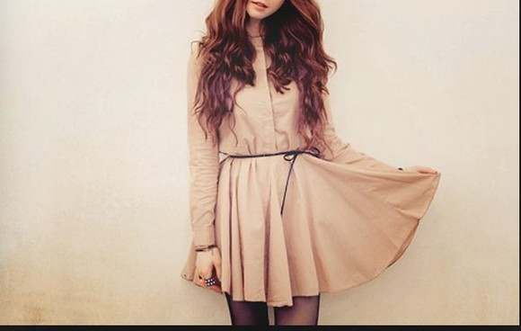 kfashion dress short long sleeve dress ulzzang nude dress