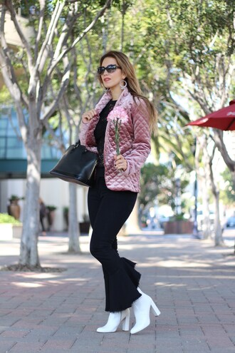 thefashionstatement blogger top jacket pants shoes bag boots white boots pink jacket