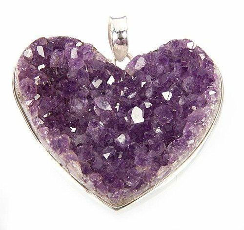 Sterling silver heart amethyst druzy pendant by midascraft on etsy