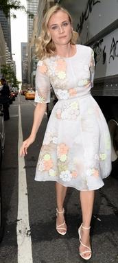 diane kruger,dress,floral,sandals,high heels