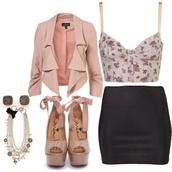 bag,blouse,jewels,jacket,skirt,shoes