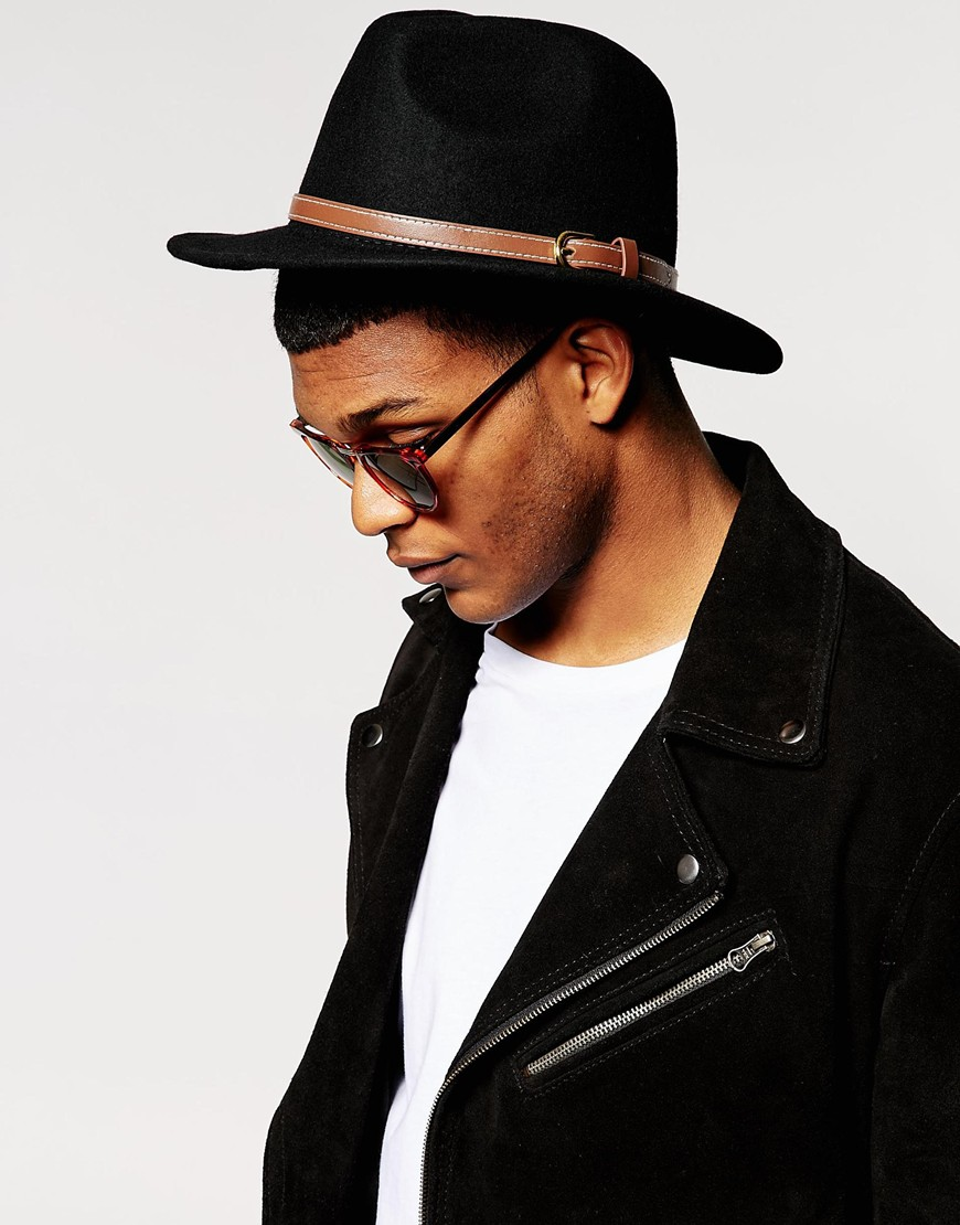 eeeb0b7b1e ASOS Fedora Hat In Black With Faux Leather Trim at asos.com