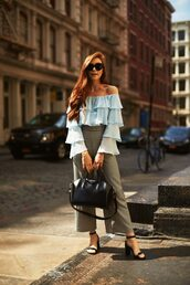 top,ruffled top,tumblr,blue top,off the shoulder,off the shoulder top,ruffle,pants,wide-leg pants,bag,black bag,sandals,sandal heels,high heel sandals,sunglasses,shoes,work outfits,office outfits