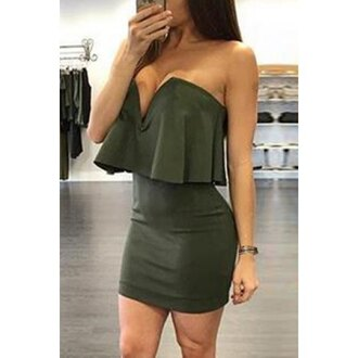 dress bodycon sexy green ruffle sexy strapless low-cut flounced solid color women's bodycon dress strapless cleavage hot