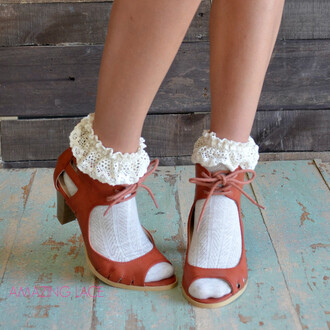 shoes open toe heels fall heels cognac heels fall outfits chunky heel trendy amazing lace heels with socks frilly socks