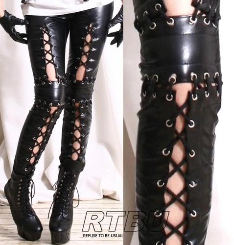 Punk Armor Corset Laceup Vegan Leather Low Rise Zip Black Ankle Pants Legging | eBay