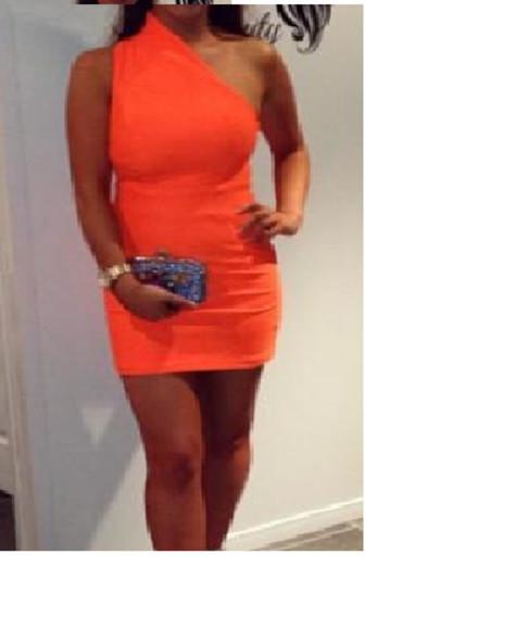 dress one shoulder orange
